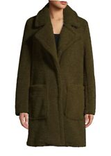French Connection Faux Fur Shearling Teddy Coat Olive Green 124