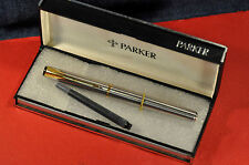 """Parker""  Latitude Stainless steel/GT M nib Fountain Pen Made in France 2005's"