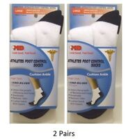 (2 Pairs) +MD Athletes Foot Control Socks, Ankle, Large, Odor Control