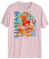 Disney Mens T-Shirt Pink Size Large L Graphic Tee Mickey Pluto Goofy Donald #237
