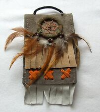 Brustbeutel grau 234 Halskette Dreamcatcher schwarz Leder Traumfänger necklace