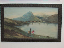 Antique Oil Painting On Board '' Landscape ''