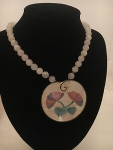 """Beautiful Lee Sands Large Shell Inlaid Flower w Pink Quartz 22"""" Necklace 980"""