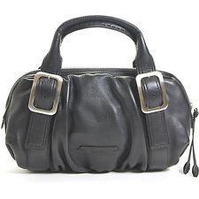 COLE HAAN 263$ Village Soft Black Pebble Leather Ruched Satchel Bag Womens Purse
