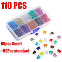 NEW 110 pcs Mini Blade Fuse Assortment Set Auto Car Truck DG SUV AMP Insurance