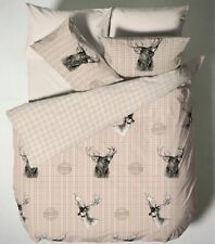 Double Cotton Beige Tartan Stag Duvet Cover With Pillow Case Reversible Bedding