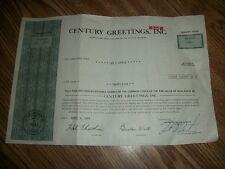 VINTAGE STOCK CERT CENTURY GREETINGS INC 25 SHARES 1975