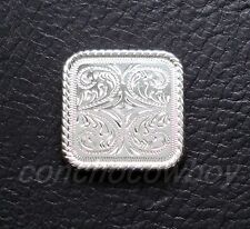"Western Saddle Bright Silver Rope Edge Square Concho 1-1/4"" screw back"