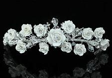 Hochzeit Qualität Handgefertigt Weiß Rose Kristall Diadem T1396