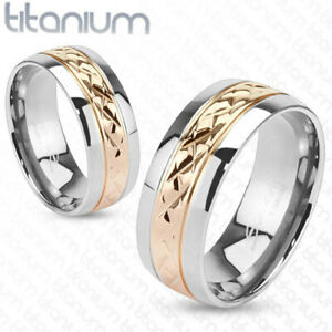 8mm Strip Rose Gold IP Solid Titanium Wedding Band Men's Ring