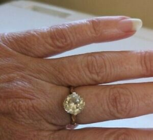 Vintage 9ct 9k Rosey Yellow Gold & Lemon Citrine Ring w 9ct reducer clip sz O