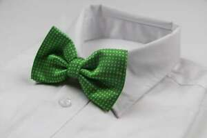 Mens Green Plain Coloured Bow Tie With White Polka Dots
