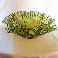 "Vintage Fenton Green Crimped Ruffled Wavy Rim Thumbprint Bridal Fruit Bowl 12"""