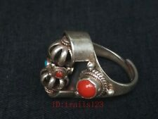 Collection Chinese Old Hand-made Inlay Coral Silver vajry pestle Rotatable Ring