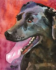 Labrador Retriever Art Print Signed Artist Ron Krajewski Painting 8x10 Black Lab