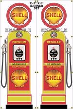 GAS PUMP SET SHELL BANNER GAS STATION SHOP GARAGE DISPLAY SIGN ART 2- 2' X 6'