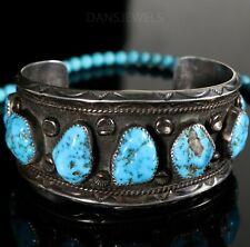 Vintage Old Pawn Navajo TIM YAZZIE NATURAL Turquoise Sterling Bracelet Cuff