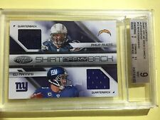 2010 Certified Philip Rivers & Eli Manning Dual Jersey Autograph #2/5 BGS MINT 9