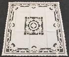 """Solid Beige 100% Cotton 42"""" Square Embroidery Tablecloth Side End Table Cover"""