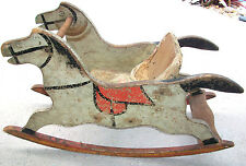 ANTIQUE WOODEN ROCKING HORSE CHILD'S TOY CHAIR EARLY 1900s HAY STRAW FILLED SEAT
