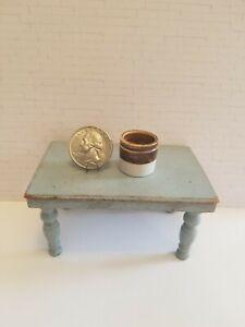 VTG Dollhouse Miniature Artisan Alex Meiklejohn   Pottery Utensil Crock 1:12