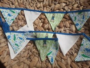 Blue and Green  PETER RABBIT BUNTING COTTON  1.5 Metres  FLAGS