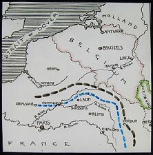 Glass Magic Lantern Slide WAR MAP SHOWING GERMAN ADVANCE ON PARIS NO2 WW1