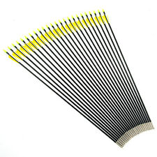 24pcs Archery Fiberglass Arrows 80CM With Yellow And White Feather For Practice