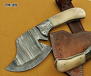 """10"""" long Damascus steel blade meat & vegetable cleaver with Leather sheath"""