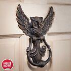 Vintage Cast Iron Metal Owl Door Knocker Unique Bird Statue Art Home Decor Gift