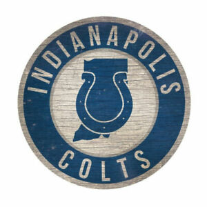 NFL Indianapolis Colts Sign Wood 12 Inch Round State Design