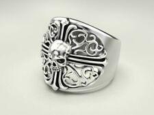 Punk Cross Pattern Skull 925 sterling Silver Biker rider Gothic Men's Ring