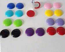 ReTro 14mm plastic CLIP - ON button style stud earrings,  11 fab colour options