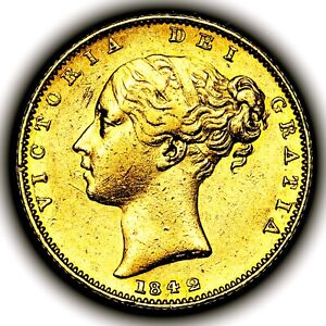 1842 Queen Victoria Great Britain London Mint Gold Sovereign