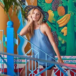 Blue Demin Look 16 Super Soft Light Tencel Thin Strap Long Cami Top