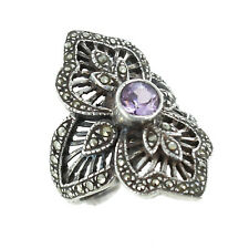 Round Faceted Amethyst & Marcasite Antiqued Sterling Silver Ring Size 6.5