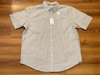 Croft & Barrow Mens Easy Care Button Up Shirt XL Short Sleeve Gray Micro Plaid