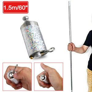 4.9 ft Portable Martial Arts Magic Pocket Metal Silver Telescopic Rod Staff
