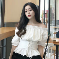 Women's Puff Short Sleeve Off Shoulder T-shirt Lace Up Corset Top Casual Blouse