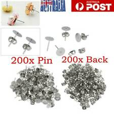 400X Flat Stud Earring Post 4mm Pads And Backs Hypoallergenic Surgical Steel AU