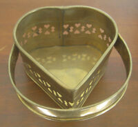 Vintage Brass Heart Shaped Container with Handle, Made in India, Open Scrollwork