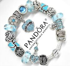 Authentic Pandora Silver Charm Bracelet Mom Family Love Heart European charms~