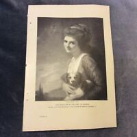 Antique Book Print - Lady Hamilton as 'Nature' - Romney - 1911