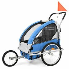 vidaXL 2-in-1 Kids' Bicycle Trailer & Stroller Dark Blue and Grey Bike Jogger