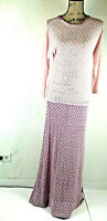 Womens Long Dress Sz 12 Stretch 3/4 Sleeve Fitted Prom Ivory Gray Hue No Tags