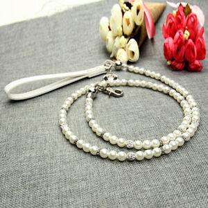 Pet Dog Cat Leash Collar Set White Artificial Pearl Necklace Fashion Neck Strap
