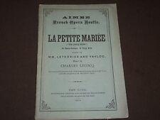 """1876 La Petite Mariee Opera Program """"The Little Bride"""" - New York - Ii 3060"""