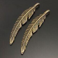 02065 Vintage Style Bronze Tone Alloy Cute Feather Charm Pendant Finding 8pcs