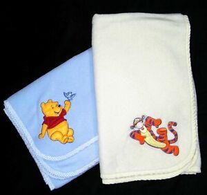 DISNEY Winnie The Pooh Bird Blue Tigger Yellow Fleece Baby Blanket Lot 34x43