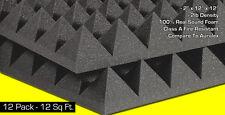 "Soundproof Foam Acoustic Soundproofing Studio Pyramid Panels 2""x12""x12"" 12sqft"